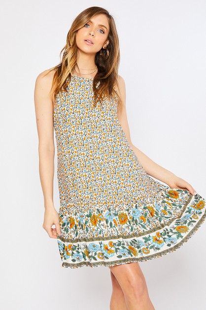 FLORAL RUFFLED SLEEVELESS DRESS - orangeshine.com