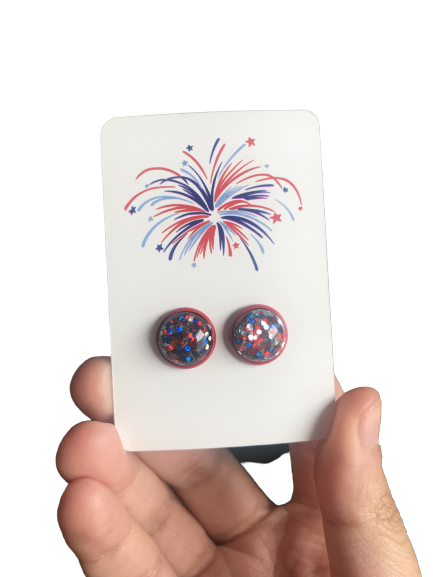 Red Confetti Studs - Fourth of July - orangeshine.com