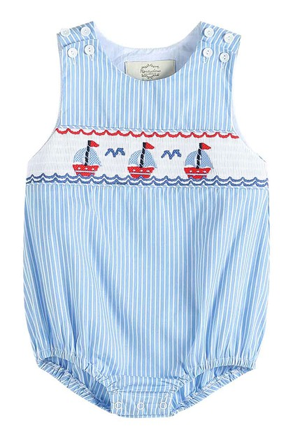 Blue stripe sail boat smocked baby - orangeshine.com