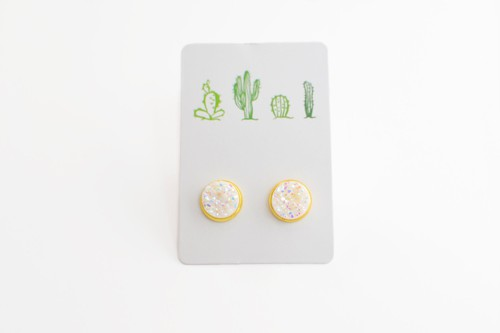 White in Gold Studs - Cactus Earring - orangeshine.com