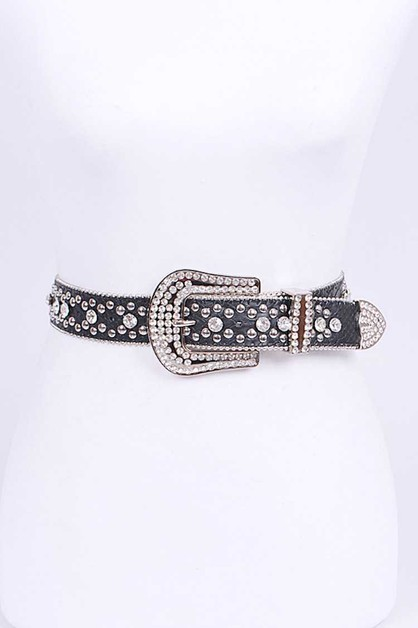Mix Stud Crystal Western Belt - orangeshine.com