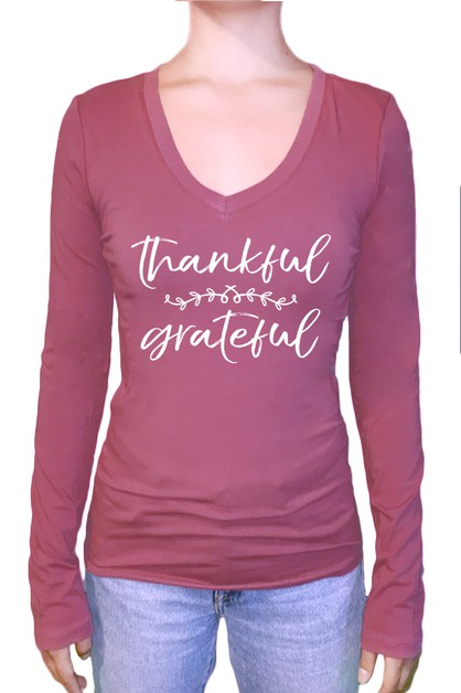 Thankful Grateful Long Sleeve Top - orangeshine.com