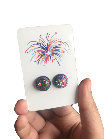 Blue Confetti Studs - Fourth of July - orangeshine.com