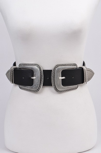 Double Buckle Vintage Stretch Belt - orangeshine.com