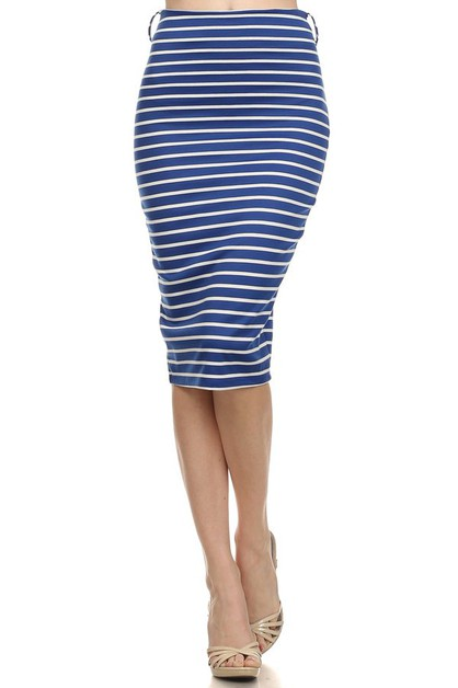 Pinstriped fitted midi skirt - orangeshine.com
