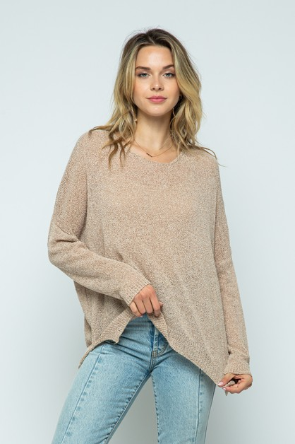 Plus size light knit pullover sweate - orangeshine.com