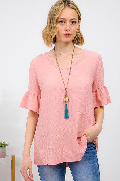 SOLID V-NECK BELL SLEEVE TOP - orangeshine.com