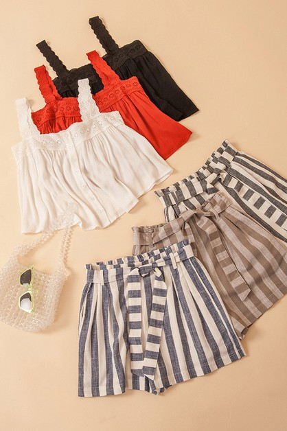 STRIPE PAPER BAG SHORTS - orangeshine.com