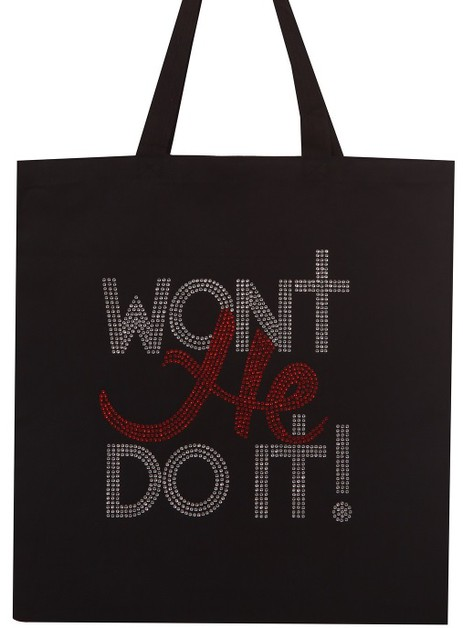 WON`T HE DO IT! Rhinestone Tote Bag - orangeshine.com