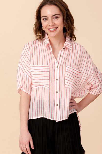 STRIPE BLOUSE WITH POCKETS - orangeshine.com