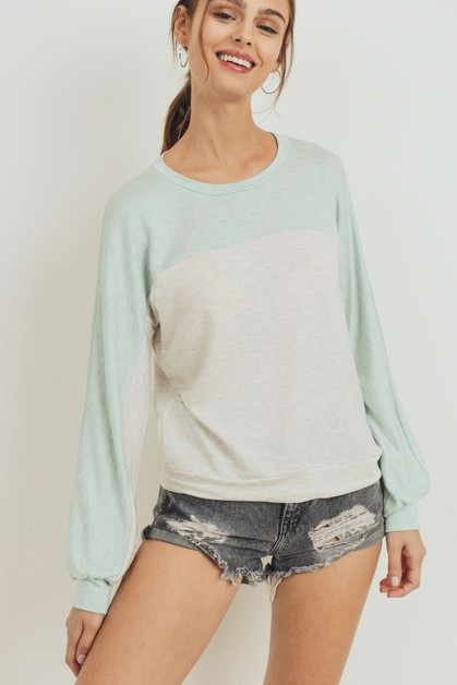 French Terry Top Yoke Color Block  - orangeshine.com