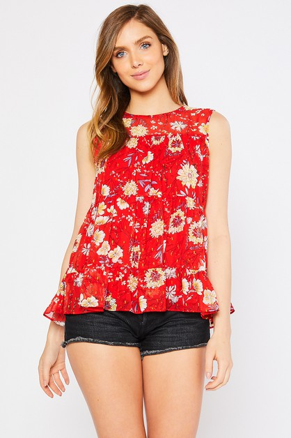 FLORAL BOTTOM RUFFLED WOVEN TOP - orangeshine.com