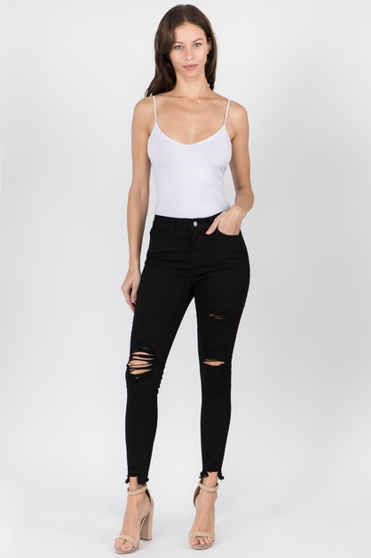 HIGH WAIST DISTRESSED DENIM JEANS - orangeshine.com