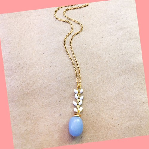 Angelite chevron chain necklace - orangeshine.com