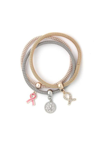 CANCER RIBBON CHARM METAL BRACELET  - orangeshine.com