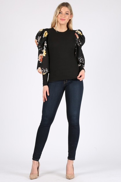 puff sleeve floral top - orangeshine.com