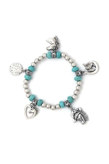 HORSE CHARM BEADED STRETCH BRACELET - orangeshine.com