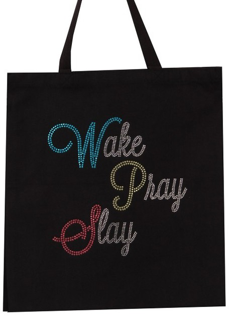 Wake Pray Slay Stud Tote Bag - orangeshine.com