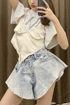 Puff Hem Denim Hot Shorts - orangeshine.com