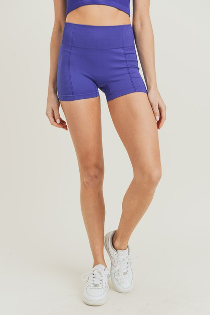 Ribbed and Smooth Combo Skinny Shorts - orangeshine.com