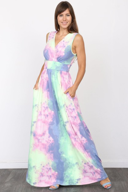 Surplice Tie Dye Maxi Dress - orangeshine.com