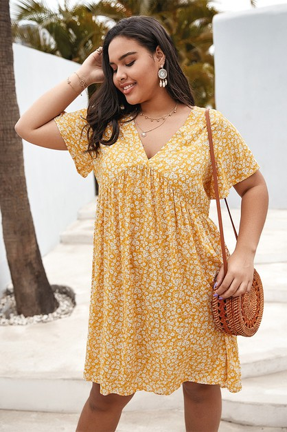 Printed loose midi plus size dress - orangeshine.com