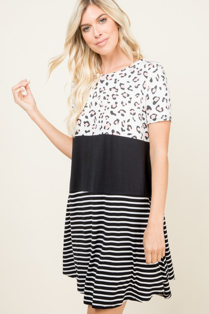STRIPED ANIMAL SHORT SLEEVE DRESS - orangeshine.com