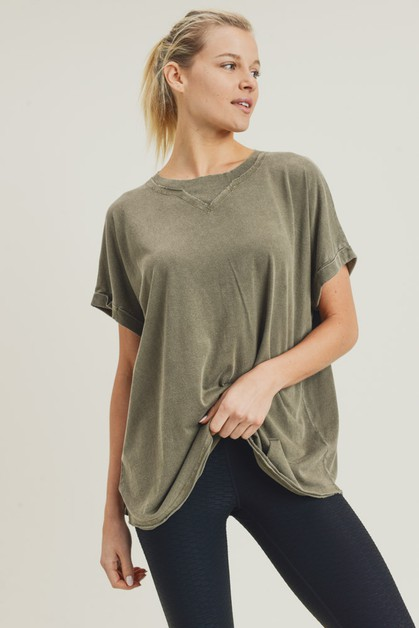 Longline Mineral-Washed Athleisure Top - orangeshine.com