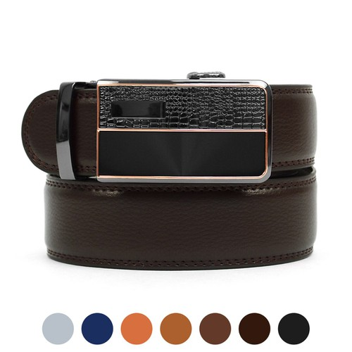 Men Genuine Leather Sliding Buckle - orangeshine.com