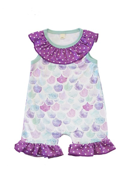 Purple mermaid scale baby romper - orangeshine.com