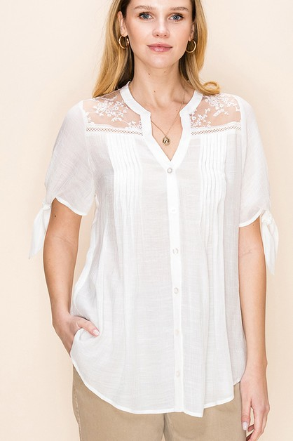 BUTTON DOWN PLEATED BLOUSE - orangeshine.com