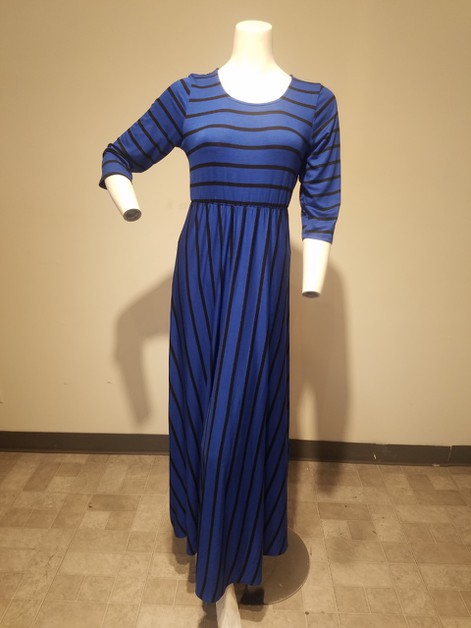 Striped maxi dress in an a line sil - orangeshine.com