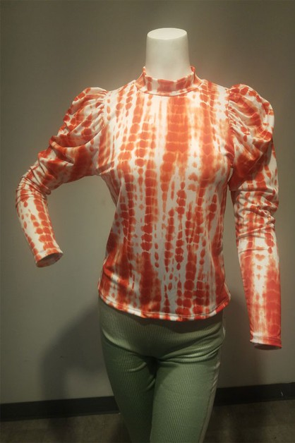Tie dye print top with puff sleeves  - orangeshine.com