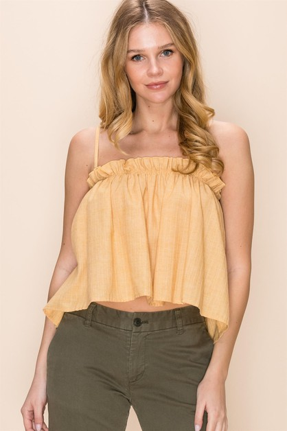 SPAGHETTI STRAP CAMI TOP WITH RUFFLE - orangeshine.com