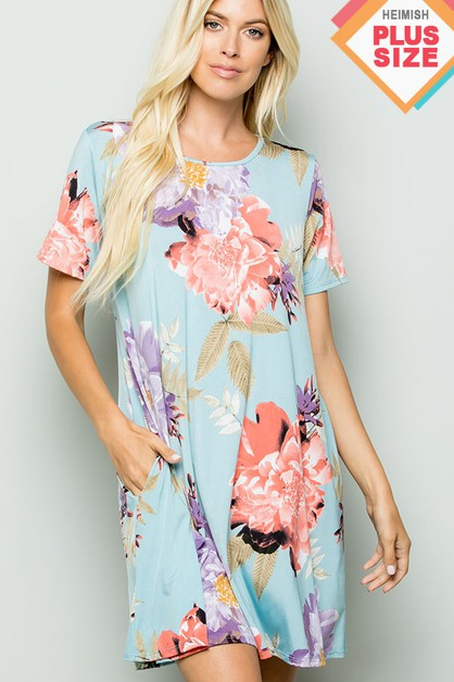 PLUS SIZE FLORAL PRINT DRESS WITH SI - orangeshine.com