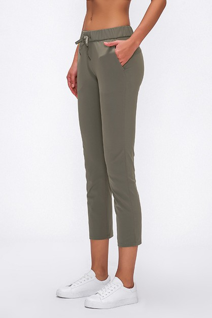 High Rise Solid Casual Pants - orangeshine.com