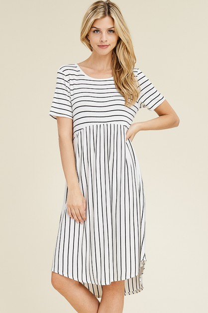 STRIPED SHORT SLEEVE SWING DRESS - orangeshine.com