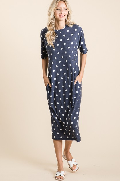 POLKA DOT MIDI DRESS  - orangeshine.com