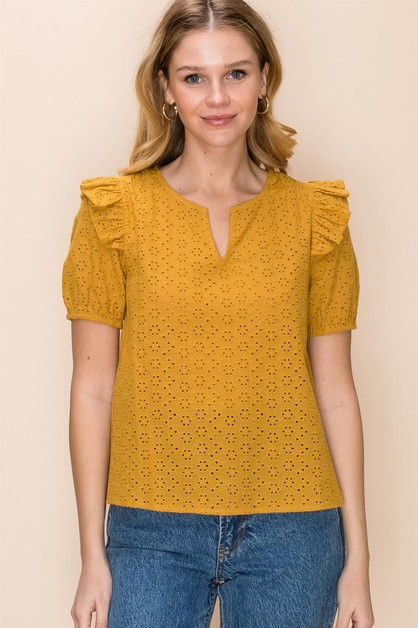 NOTCH NECK RUFFLE TRIM EYELET TOP - orangeshine.com