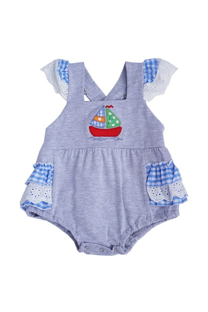 Sailor boat applique baby romper - orangeshine.com