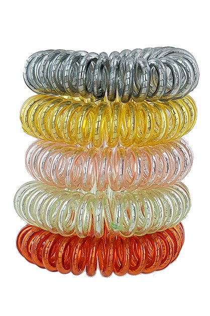 5-pc Phone Cord Hair Tie Set - orangeshine.com