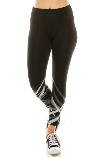 Basic leggings with geometric print - orangeshine.com