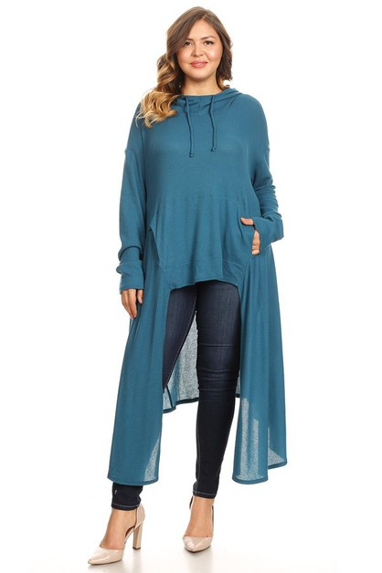 Hooded Long Sleeve Tunic - Plus Size - orangeshine.com
