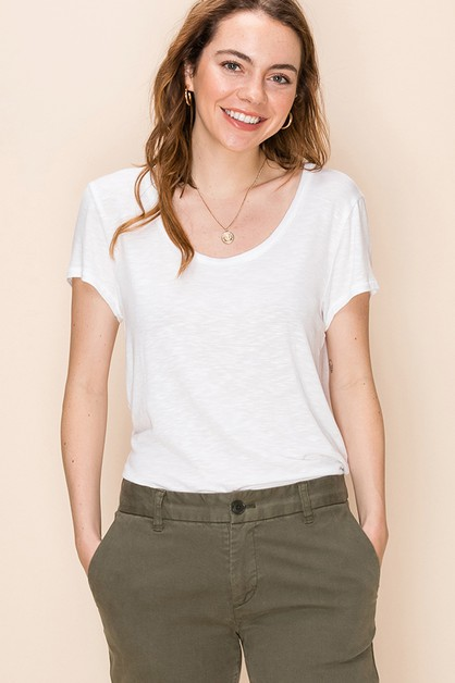 SHORT SLEEVE SCOOP NECK TOP - orangeshine.com