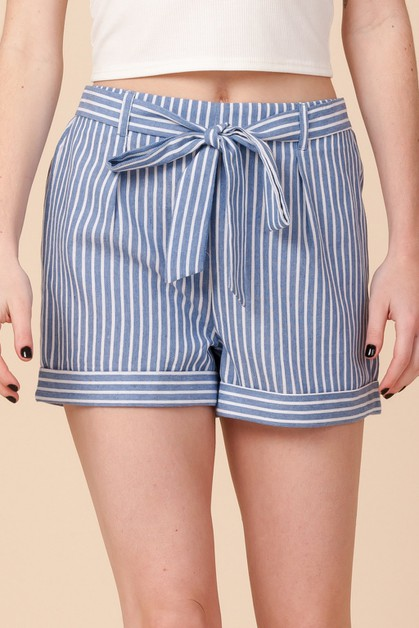 STRIPE SHORTS WITH FOLDED HEM - orangeshine.com