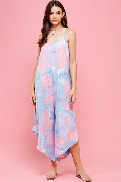 PINK AND BLUE TIE DYE HAREM JUMPSUIT - orangeshine.com