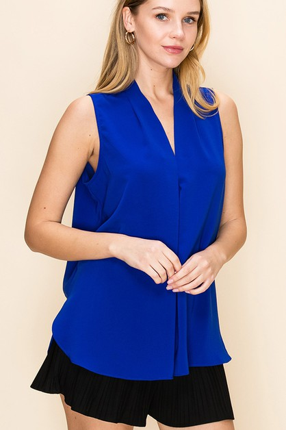 V NECK SLEEVELESS FLOWY BLOUSE - orangeshine.com