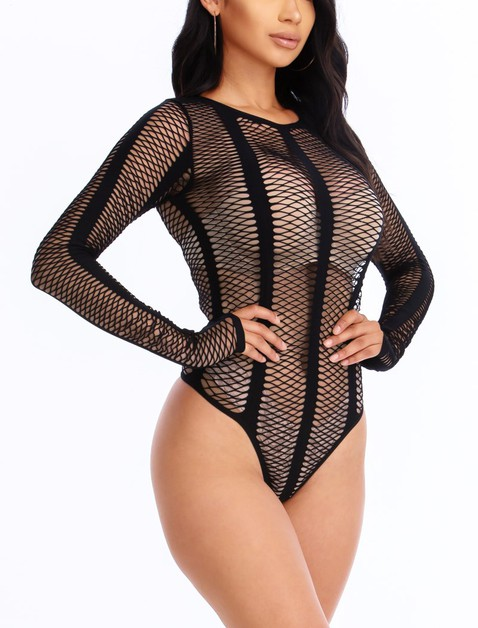 Long Sleeve Fishnet Bodysuits - orangeshine.com