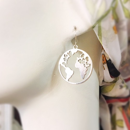 large world map hoop earrings  - orangeshine.com