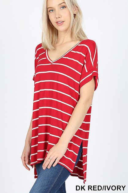 STRIPE ROLLED SHORT SLEEVE TOP - orangeshine.com